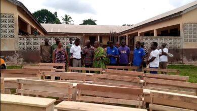 Photo of Ahenkan FM, Vera Ryan Donates Furniture To Akyem Ayeboafo Basic School